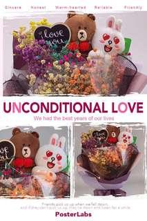 Valentine Bouquet - Line with Dried Rainbow Baby Breath with LED lighting (long lasting bouquet!)size -Ht 50x30cm