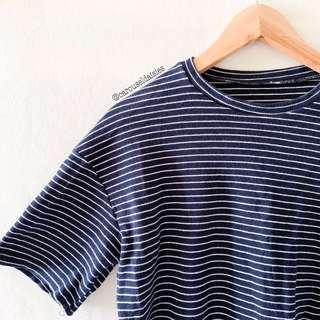 Korean Ulzzang Boxy Stripe Shirt in Navy
