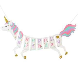 Unicorn party supplies - Happy Birthday Banner / bunting / party deco