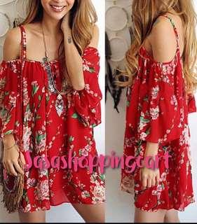 😆FREE SHIPPING* under 500g😆(Red) Women's floral print chiffon shirt suspenders