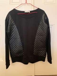 Black jumper with quilted detailing 'leather look'