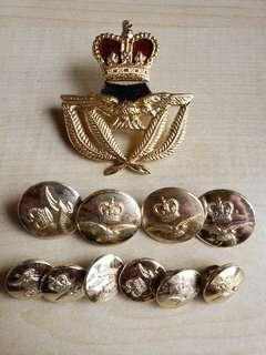 RAF buttons , badge