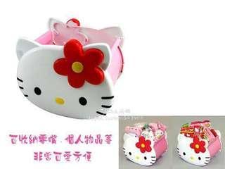 🚚 正版授權 日本 三麗鷗 HELLO KITTY 凱蒂貓 小花臉型款 收納盒 置物盒 餅乾盒 零食盒 塑膠盒 桌上盒 小物盒