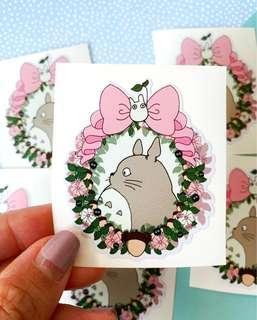 💖WATERPROOF💖 Totoro Flower Border Luggage / Laptop Stickers #303