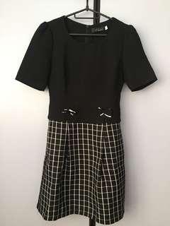 Brand New Hue Black Dress with Checkered Skirt