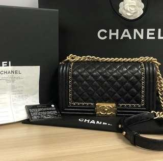 100% Authentic Chanel Boy Old Medium Jacket Distressed Aged Ghw Flap Black Calfskin Leather Shoulder Bag
