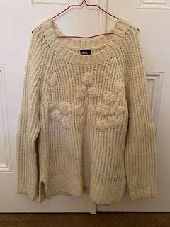 Cream beaded knit sweater