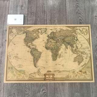 🚚 Extra Large Kraft Paper Vintage World Map (100cm*67cm)