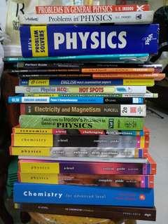 Assorted A Level Physics, Chemistry and Biology assessment books and other books