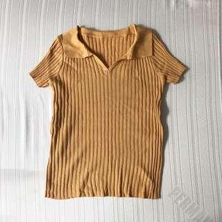 MUSTARD COLLARED KNITTED TOP FITS S
