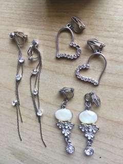 3x clip on earrings