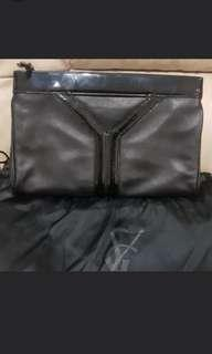 YSL Classic Black Cluth with gold zipper