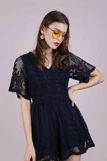 Thetinselrack Miki Mesh Embroidery Romper in Navy - Size XS