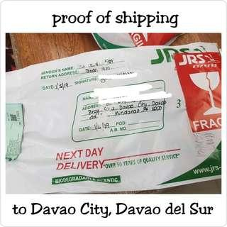 Proof of shipping