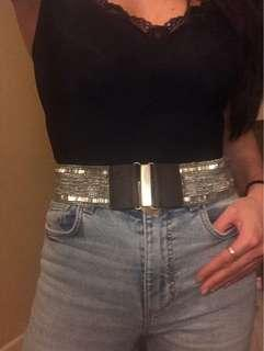 NWT Hollister Beaded Brown Leather Belt