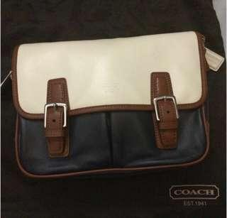Coach - Navy Blue,Cream White,Brown Satchel
