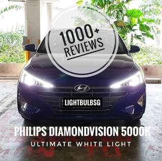 New 2019 Hyundai Avante on philips diamondvision white halogen car headlight bulb + installation (Will not void warranty)