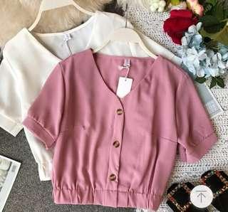 Dusty pink button down cropped top