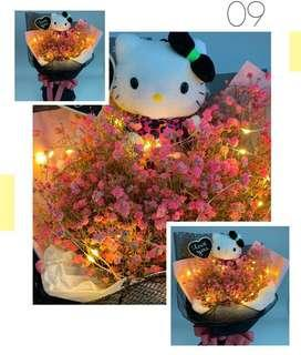 Valentine Bouquet- Authentic Hello Kitty with Dried Baby Breath ( size :Ht 45cm x W38