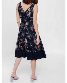 Love Bonito Morgana Printed Belted Midi Dress - Navy Blue, XL
