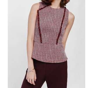 Love Bonito Helgane Fringe Trim Tweed Peplum Top - Red, XL