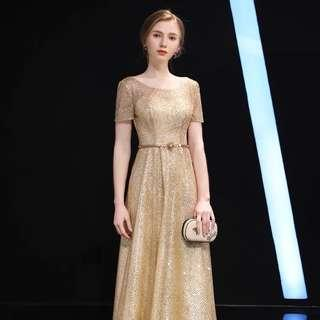 Gold/ Silver Short Sleeves Gown