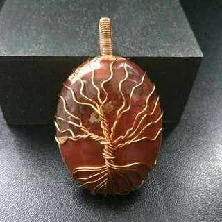 🚚 Tree of Life Red Jasper Pendant Necklace, Copper Wire Wrapped Gemstones Agate, Couple Gift
