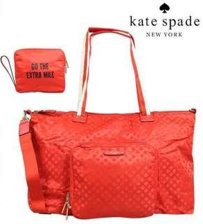 Kate Spade Roma Bon Voyage Duffel Empire Red Nylon Weekend Travel Bag