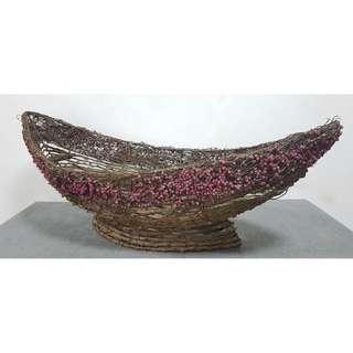Rustic looking root Boat Shaped Basket
