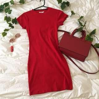 red ribbed frill dress