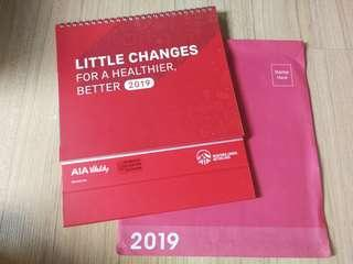 AIA Calendar 2019 with coupons, stickers, public holidays