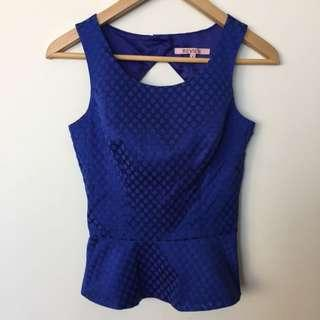 New Review Royal Blue Peplum Top Size 6