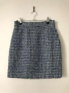 Checked woven wool blend skirt