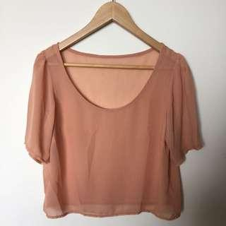 Peach Sheer Top Size 8/10