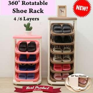 🚚 ♢360 4/6 tiers Rotatable Shoe Rack Durable Space Saving