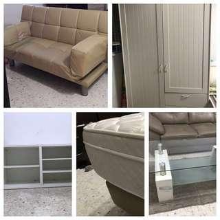 Coffee table, sofa bed, queen mattress wardrobe & Cabinet