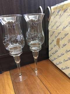 princess house pair crystal candle holder