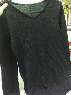 kaos+sweater black bling