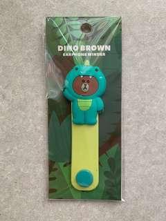 🚚 Dino brown earphone winder