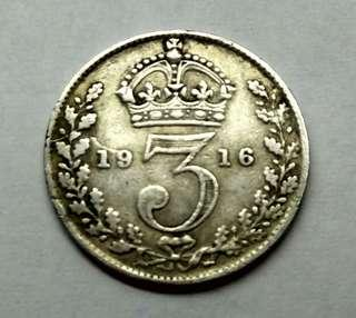 1916 GB 3 Pence King George V Silver Coin