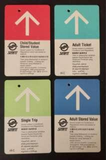 4 SMRT adult, adult store value, child/student store value and single trip fare card.