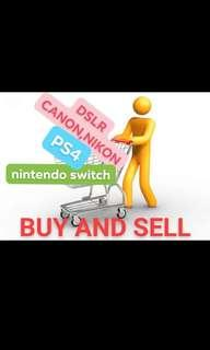 buying looking for dslr camera, ps4 and nintendo switch