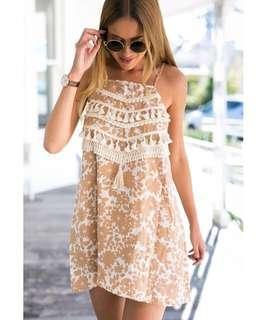 As New Linen Blend Tassel Dress
