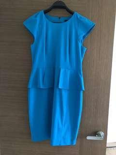 Peplum Blue Work Dress