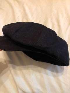 🚚 日本買的100%麻料黑色帽57.5cm