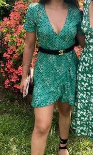 Zara green floral dress