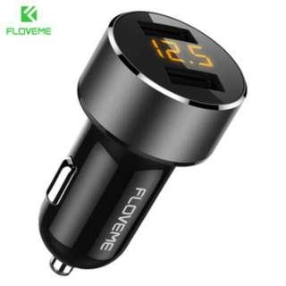 Floveme 車廂 充電頭 雙USB LED顯示 3.6A 快充 12V-24V 輸入