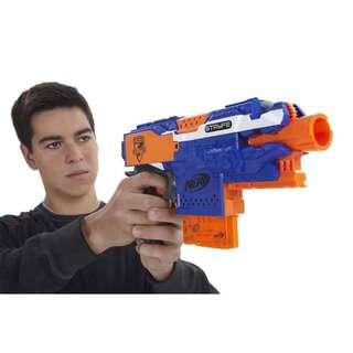Nerf Elite Blue Stryfe with 12dart magazine, front muzzle and removable stock