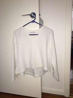 Zara Trafaluc White Bell Sleeve Top