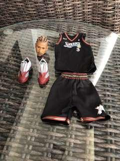 1/6 Scale NBA Sixers Allen Iversion's Head Scuplt, Jersey and Shoes